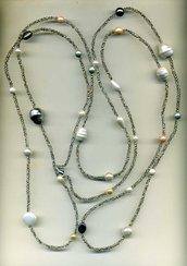 MAXI COLLANA quadruplicabile con mix di perle
