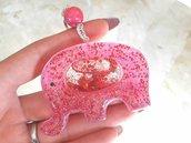 Portachiavi Shaker // Elefante Fucsia con Glitter // Fatto a Mano ❤