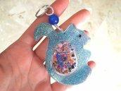 Portachiavi Shaker // Scoiattolo Azzurro con Glitter // Fatto a Mano ❤
