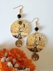 Klimt orecchini di carta pendenti con ciondolo a cerchio, perlina nera e pendente dorato albero della vita.
