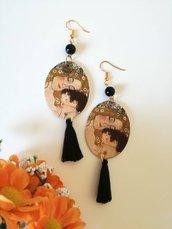 Klimt maternità orecchini di carta pendenti con perla nera
