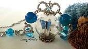 Collana ampolla giardino fatato farfalla azzurra cristallo rocca idea regalo bigiotteria fatto a mano