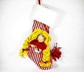 """calza con befana, calza con strega, calza con strega in tessuto, rosso , bionda, halloween, """"dolcetto o scherzetto"""", epifania, festività"""