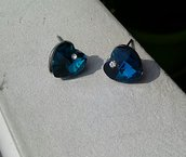 Orecchini cuore dell'oceano blu bermuda titanic cristallo
