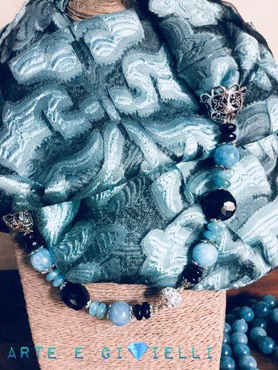 Foulard gioiello misto seta  nero e celeste