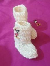 Stivaletti scarpette scarpine crochet tipo Ugg neonato bebè Topolino