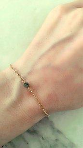 Bracciale in argento con pietra preziosa labradorite,bracciale con perlina grigia, bracciale semplice,layering bracciale,bracciale dorato,regalo amica donna ragazza