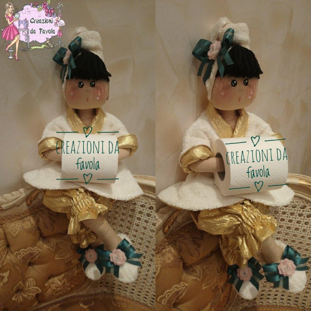 Bambola portarotolo Dorina panna e oro