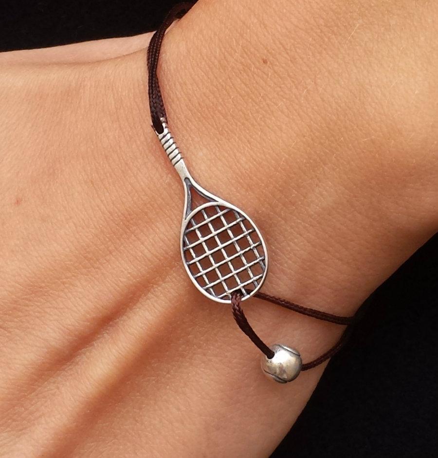 Bracciale di corda con pendente charm in argento Racchetta da tennis con pallina fatto a mano