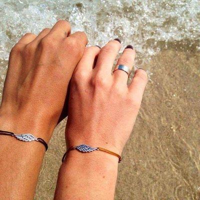 Braccialetti di corda per coppie, in argento con pendente charm Ali d'angelo, fatto a mano