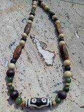 collana stile etnico  perle di legno agata verde e pietra lavica