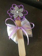 Segnalibro fiori gomma crepla con confetti battesimo, comunione, matrimonio