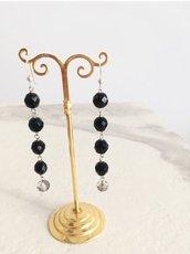 Orecchini neri lunghi,orecchini Swarovski,orecchini modello rosario,orecchini sera,orecchini sposa,regalo,orecchini argento e pietre