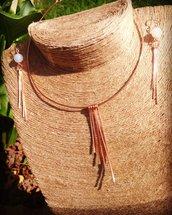 Set gioielli in rame con Agata bianca