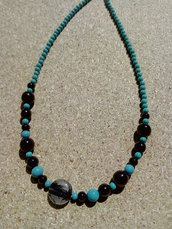 Collana pasta turchese perle nere