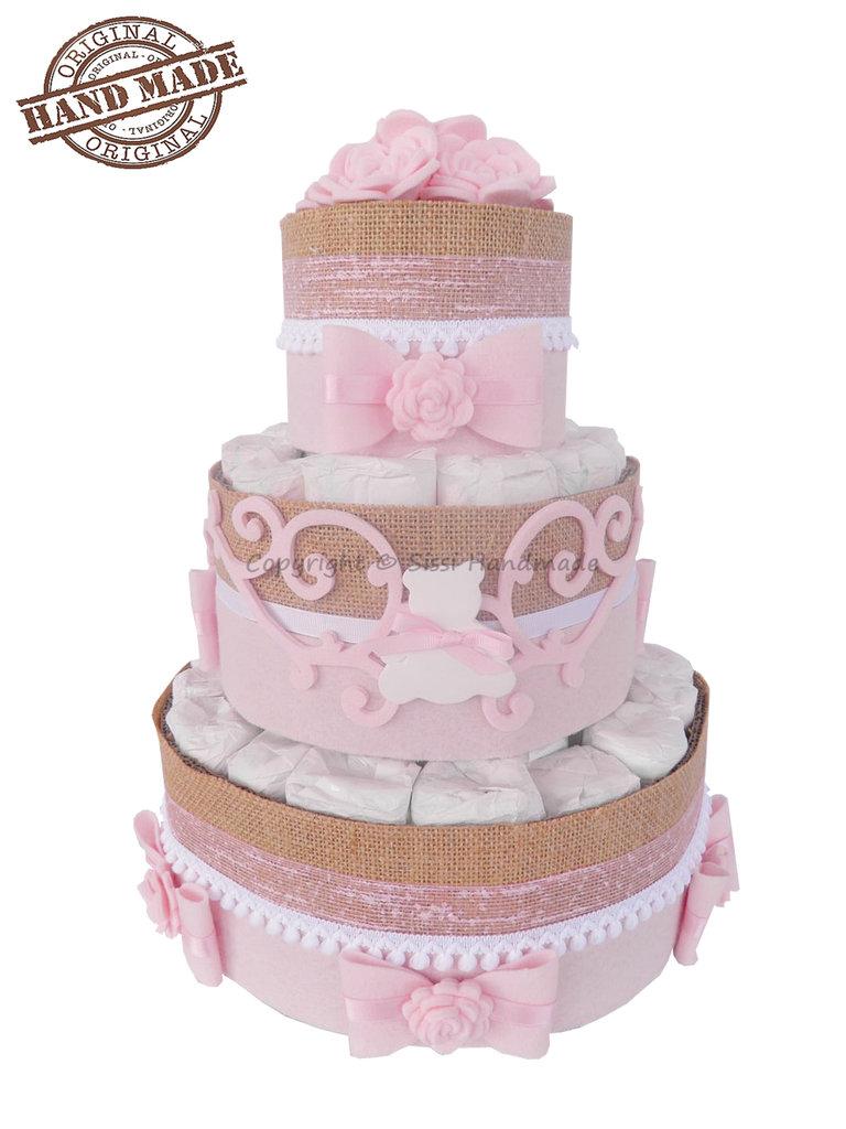 Torta di pannolini rosa, bambina / Idee regalo nascita, battesimo, baby party