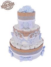 Torta di pannolini azzurro, bambina / Idee regalo nascita, battesimo, baby party