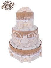 Torta di pannolini avorio, unisex / Idee regalo nascita, battesimo, baby party