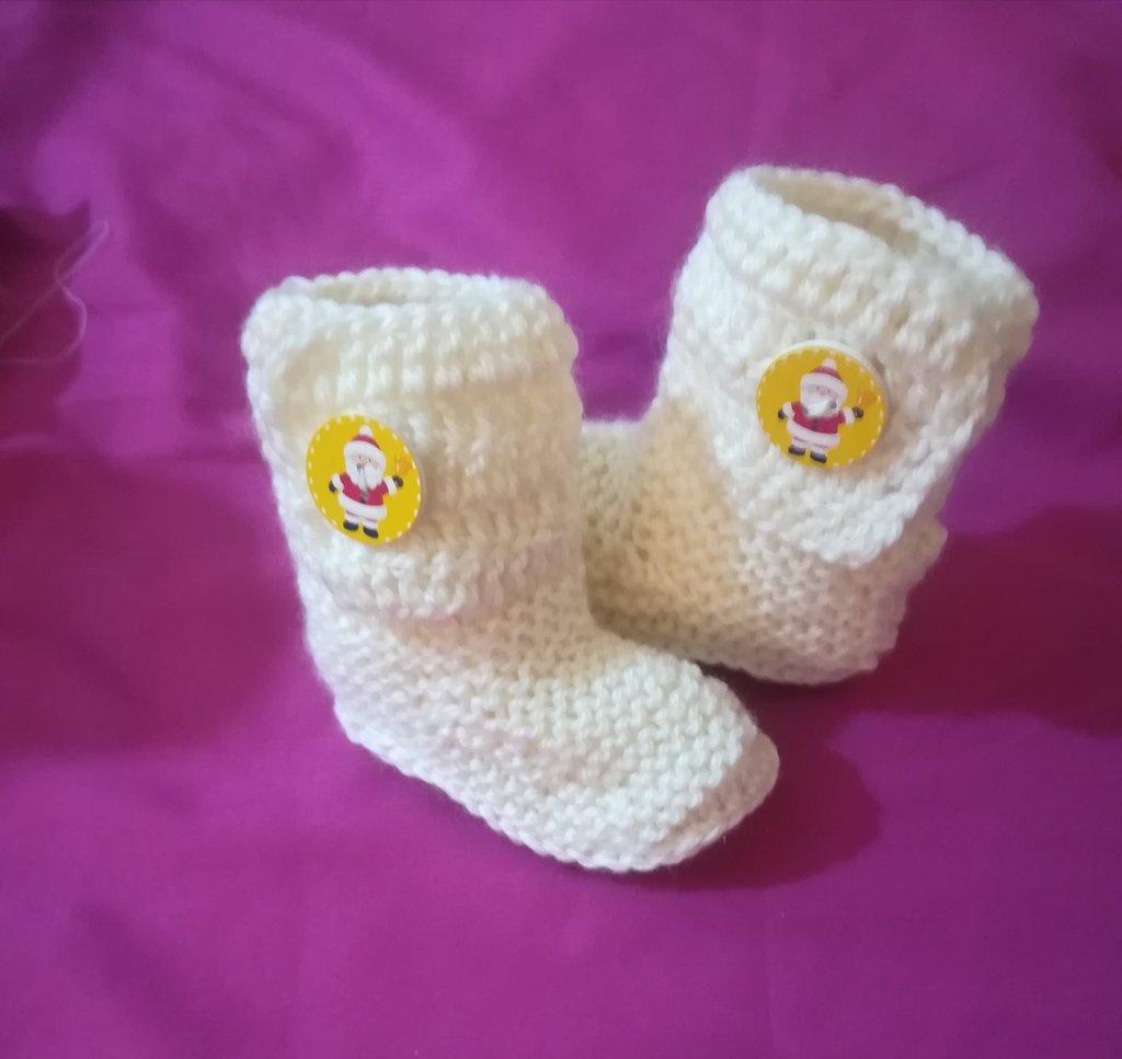 Stivaletti  scarpine crochet neonato bebè Babbo Natale