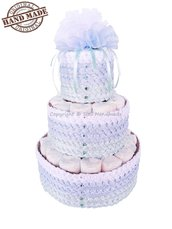 TORTA DI PANNOLINI BAMBINO / Pannolini per nascita maschietto / Idee regalo neonati, azzurro