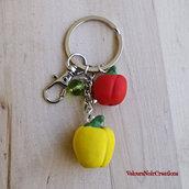 Portachiavi peperoni giallo e rosso in fimo