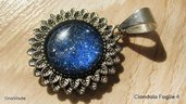 CIONDOLO FOGLIE 4 - con cabochon glitter blu e argento