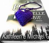 segnalibro cuore viola uncinetto - Violet Heart Crochet Bookmark - FREE SHIPPING .