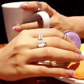 Anello in argento Tazza da caffè, fatto a mano, regolabile