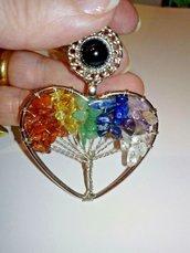 Spilla cuore albero della vita vere pietre dure naturali 7 chakra cristalloterapia