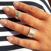 Anello in argento midi per falangi, fatto a mano, regolabile, set di 2 anelli
