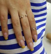 Anelli in argento per falangi Attrazione, fatto a mano, regolabile, set di 2 anelli