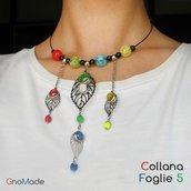 COLLANA FOGLIE 5 - girocollo con pendenti giallo rosso verde e blu