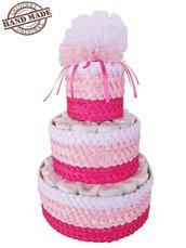 TORTA DI PANNOLINI BAMBINA / Pannolini per nascita femminuccia / Idee regalo neonati, rosa