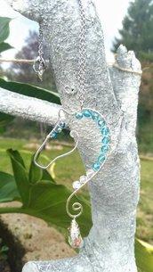 Collana wire con mezzi cristalli