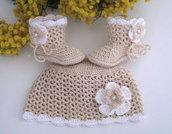 Set coordinato beige/bianco cappellino+scarpine neonata neonato cotone all'uncinetto