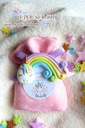 bomboniera arcobaleno con unicorno in fimo con sacchettino