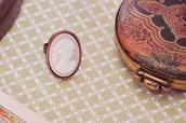 Anello cammeo rosa vintage color rame vittoriano gothic - Stile antico - Idea regalo