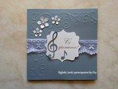 """Partecipazione - Matrimonio /  Anniversario, Comunione o Compleanno -""""Musica, note, chiave di violino"""""""