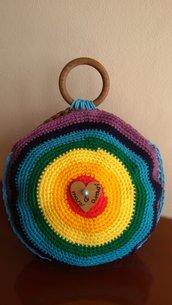 Borsa tonda arcobaleno di lana e cordino