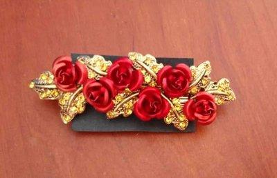 bellissimo fermacapelli con fiorellini  e strass, rosso