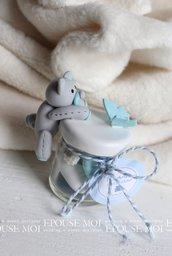boccettine porta confetti con bomboniera in fimo orsetto e farfalla