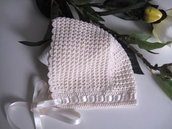 Cuffia cuffietta neonata uncinetto cotone color crema
