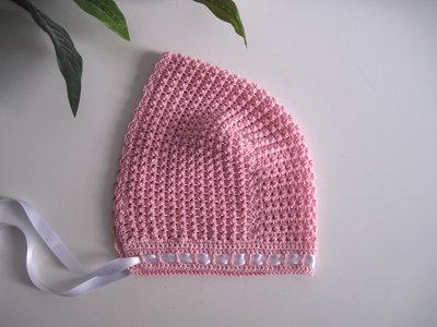 Cuffia cuffietta neonata uncinetto cotone rosa