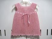 Vestitino vestito neonata uncinetto cotone color rosa nascita