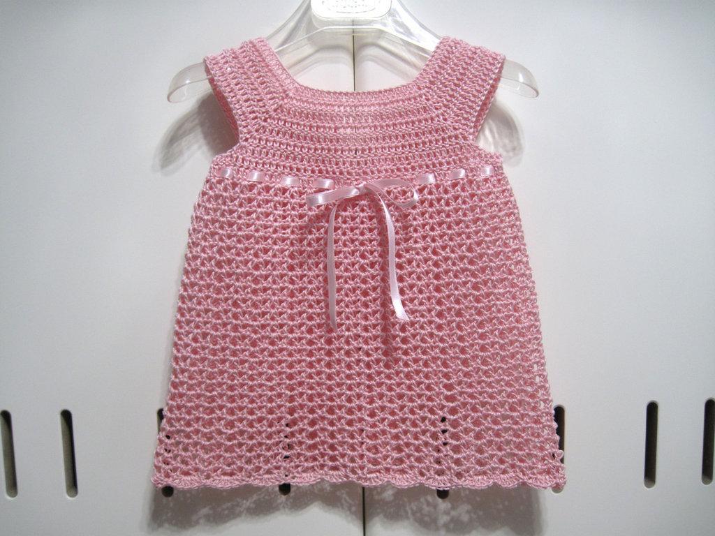 Vestitino Vestito Neonata Uncinetto Cotone Color Rosa Nascita Bam