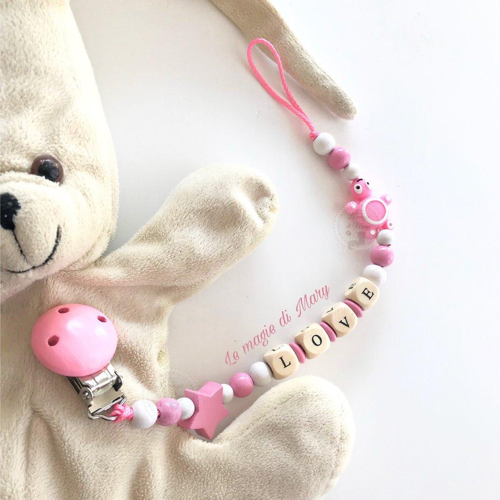 Catenella portaciuccio per bambina con clip in legno e piccola tartarughina in silicone BPA free