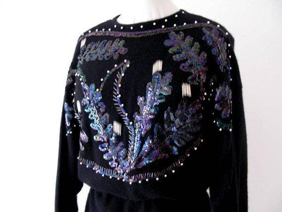 Abito vintage in morbida lana  - Abito con palliettes - Abito Made in Italy