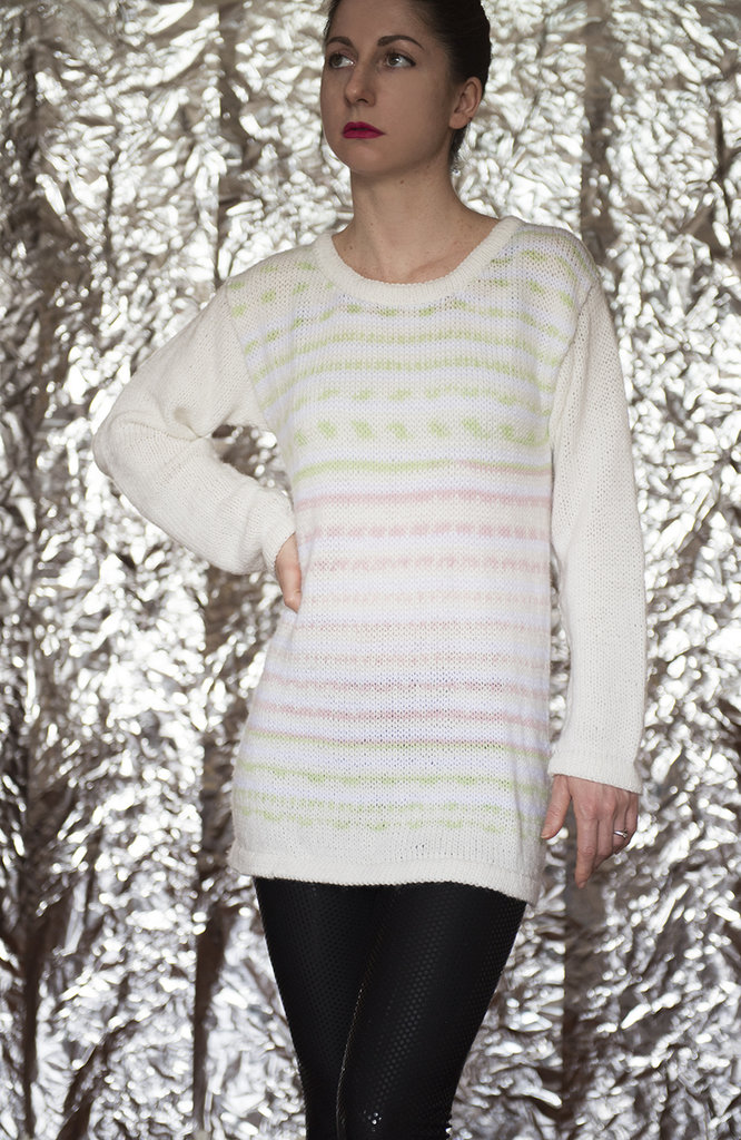 100% Cachemire bianco con motivi rosa e verdi, Maglione donna - UnicOrn