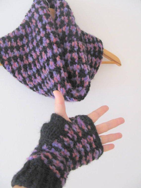 Sciarpa e guanti in lana- guanti senza dita - Collo - Sciarpa ad anello -