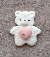 Calamita Orsetto con cuore rosa bimba nascita battesimo compleanno bomboniere bomboniera